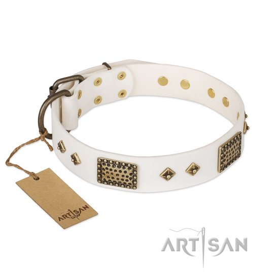 """Snow-covered Gold"" FDT Artisan White Leather Boxer Collar"