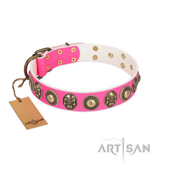 """Two Extremes"" FDT Artisan Pink Leather Boxer Collar with Elegant Conchos and Medallions with Skulls"