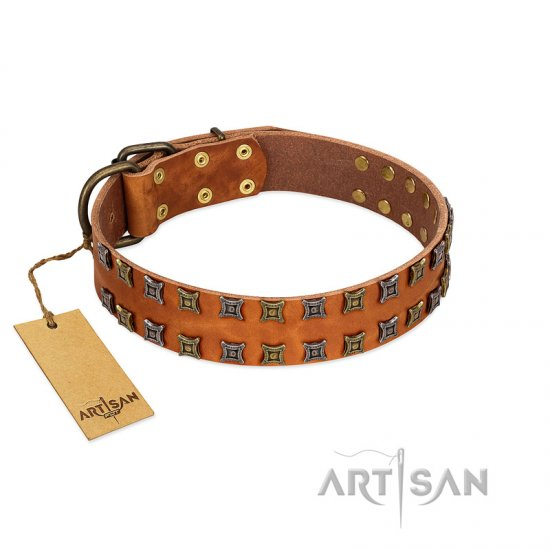 """Terra-cotta"" FDT Artisan Tan Leather Boxer Collar with Two Rows of Studs"