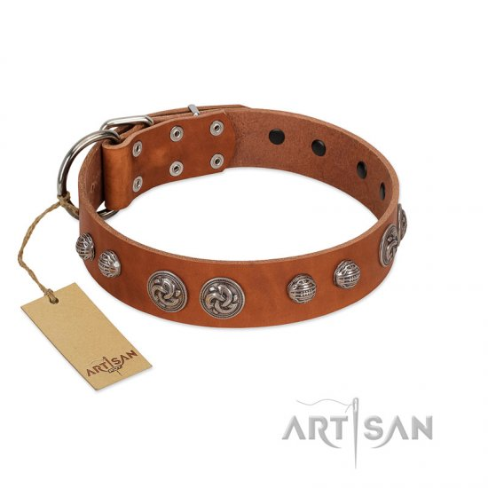 """Era Infinitum"" FDT Artisan Tan Leather Boxer Collar Adorned with Chrome-plated Circles"