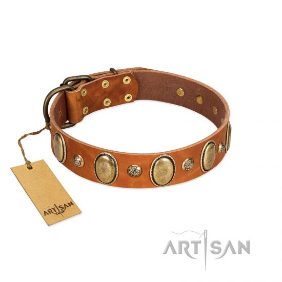 """Venus Breath"" FDT Artisan Tan Leather Boxer Collar with Vintage Looking Oval and Round Studs"