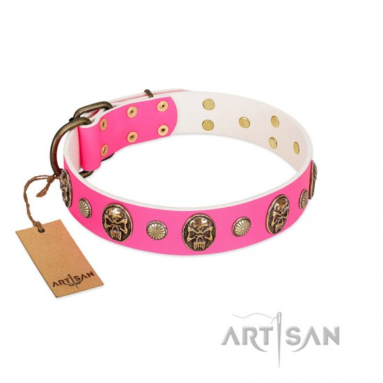 """Miss Pinky Fluff"" FDT Artisan Pink Leather Boxer Collar Adorned with Conchos and Medallions"