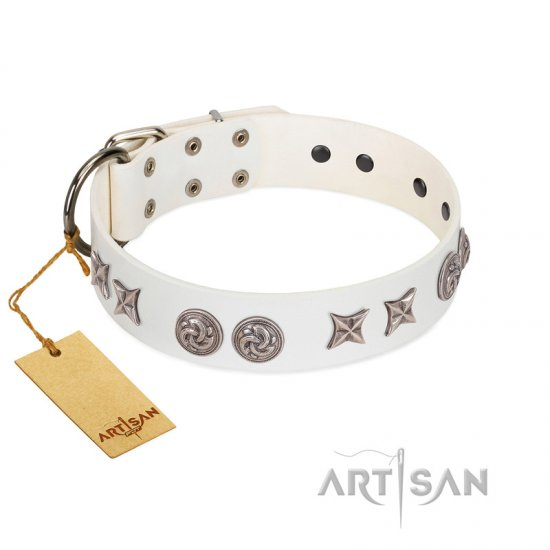 """Galaxy Hunter"" FDT Artisan White Leather Boxer Collar with Engraved Brooches and Stars"