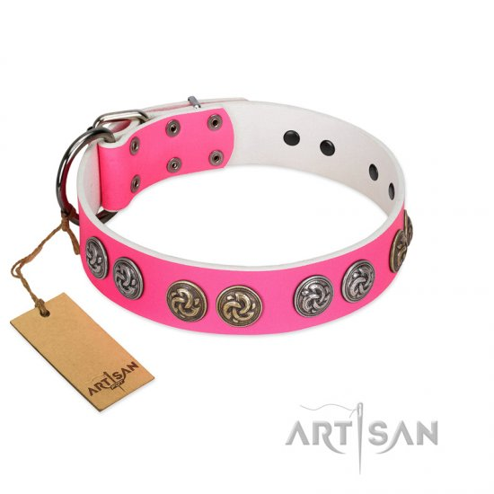 """Pink Butterfly"" Designer FDT Artisan Pink Leather Boxer Collar with Round Studs"
