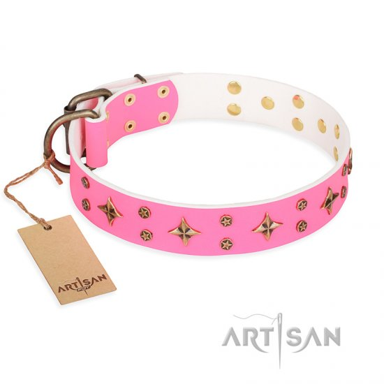 'Chi-Chi Pink Rose' FDT Artisan Leather Boxer Collar with Decorations