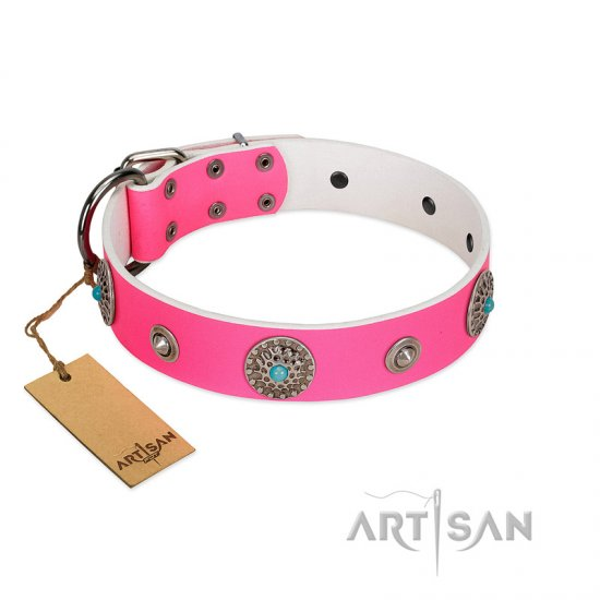 """Chili Mood"" Designer Handmade FDT Artisan Pink Leather Boxer Collar"