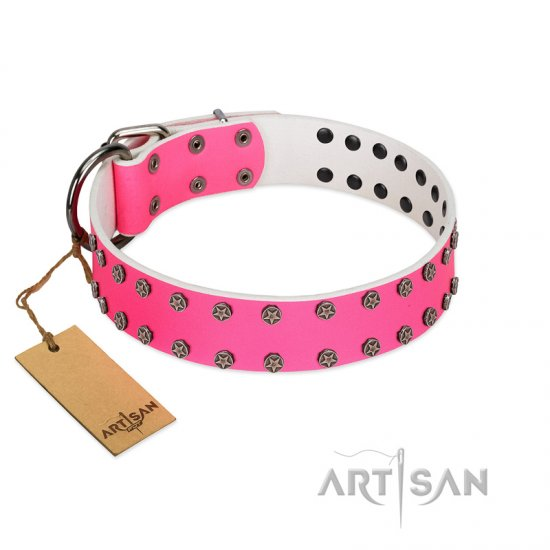 """Pink Fashion"" Designer FDT Artisan Pink Leather Boxer Collar with Silver-Like Studs"