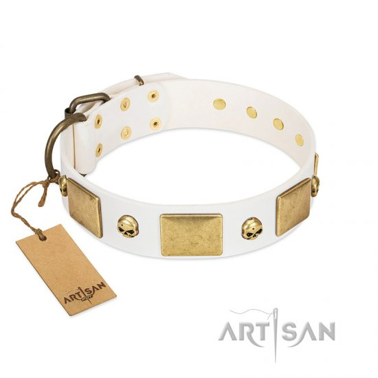 """Inspiration"" FDT Artisan White Leather Boxer Collar with Antiqued Skulls and Plates"
