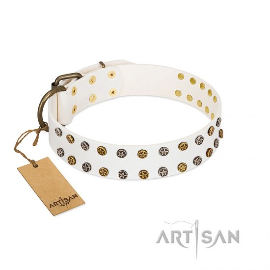 """Crystal Night"" FDT Artisan White Leather Boxer Collar with Two Rows of Small Studs"