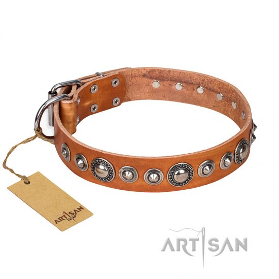"""Daily Chic"" FDT Artisan Tan Leather Boxer Collar with Decorations"