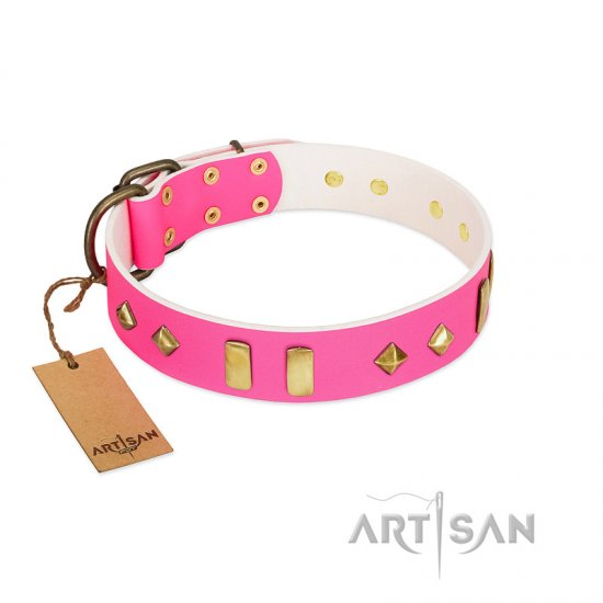 """Gentle Temptation"" FDT Artisan Pink Leather Boxer Collar with Goldish Plates and Studs"
