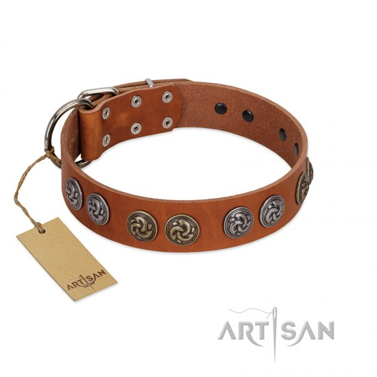 """Luxurious Life"" Premium Quality FDT Artisan Tan Leather Boxer Collar with Round Adornments"