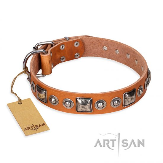 """Era of Future"" FDT Artisan Handcrafted Tan Leather Boxer Collar with Decorations"