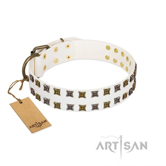 """Ice Peak"" FDT Artisan White Leather Boxer Collar with Silvery and Goldish Decorations"