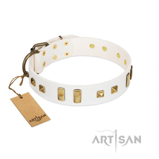 """Wintertide Mood"" FDT Artisan White Leather Boxer Collar with Old Bronze-like Plates and Studs"