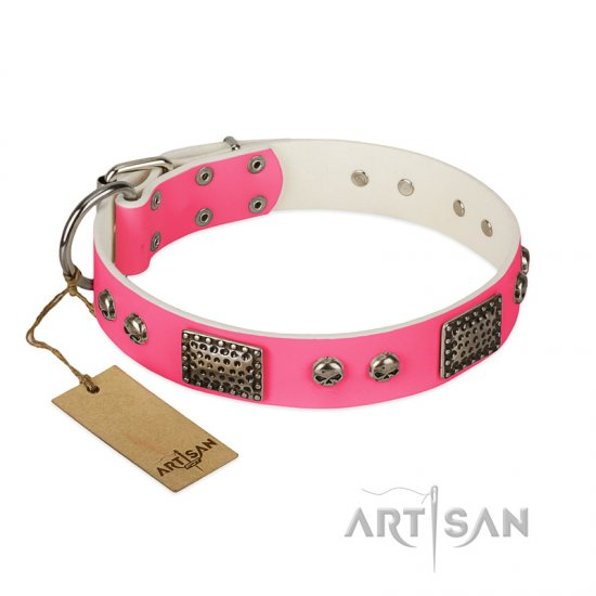 """Fashion Skulls"" FDT Artisan Pink Leather Boxer Collar with Old Silver Look Plates and Skulls"