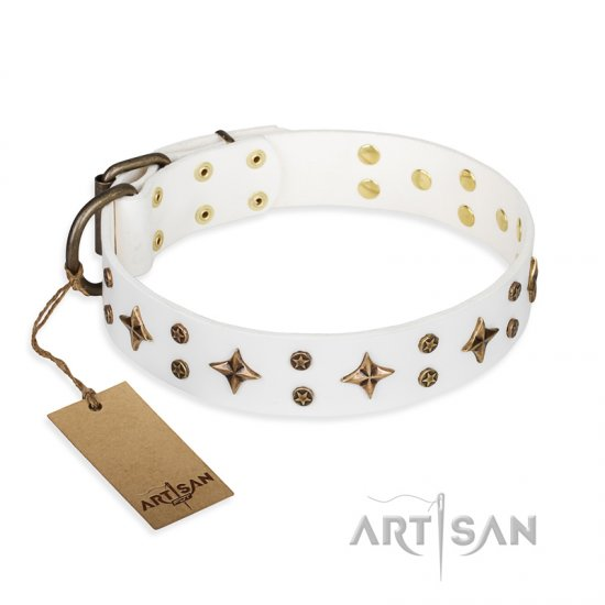 'Bright stars' FDT Artisan White Leather Boxer Dog Collar with Old Bronze Look Decorations - 1 1/2 inch (40 mm) wide
