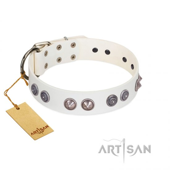 """Ancient Mystery"" FDT Artisan Handmade White Leather Boxer Collar with Silver-like Fitting"