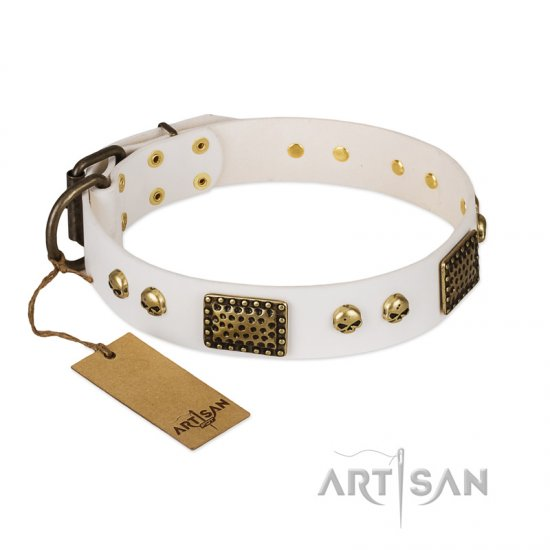 """Lost Treasures"" FDT Artisan White Leather Boxer Collar with Old Bronze Look Plates and Skulls"