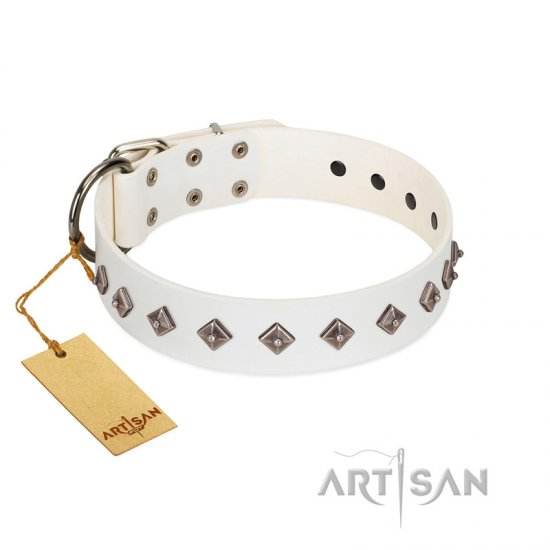 """Snowy Day"" Stylish FDT Artisan White Leather Boxer Collar with Small Dotted Pyramids"