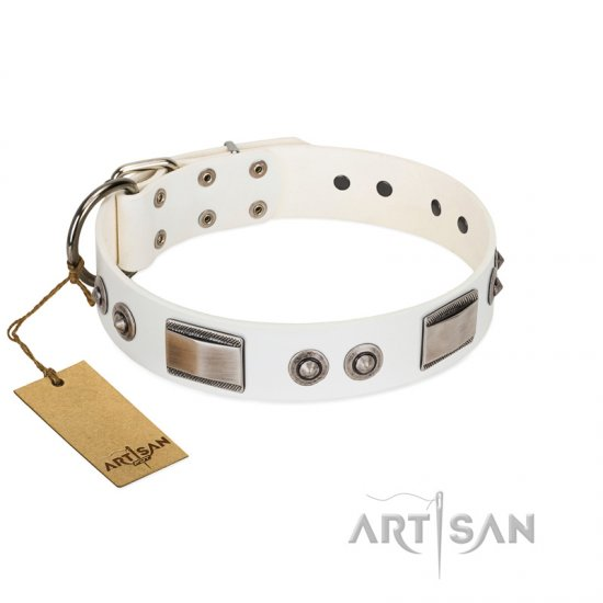 """Good-Luck Piece"" FDT Artisan White Boxer Collar Adorned with Chrome Plated Studs and Plates"