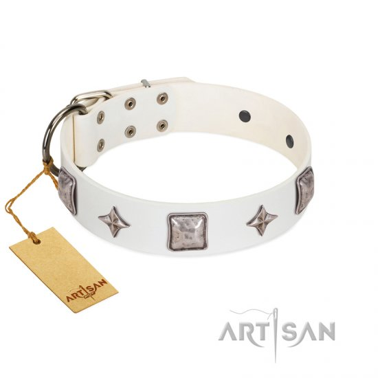 """Vanilla Ice"" FDT Artisan Handmade White Leather Boxer Collar with Silver-like Adornments"