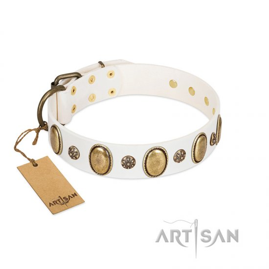 """Nifty Doodad"" FDT Artisan White Leather Boxer Collar with Amazing Large Ovals and Small Studs"