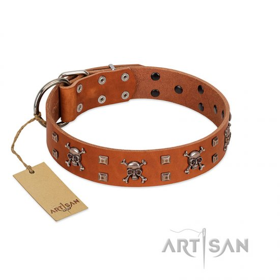 """Rebellious Nature"" FDT Artisan Tan Leather Boxer Collar Embellished with Crossbones and Square Studs"