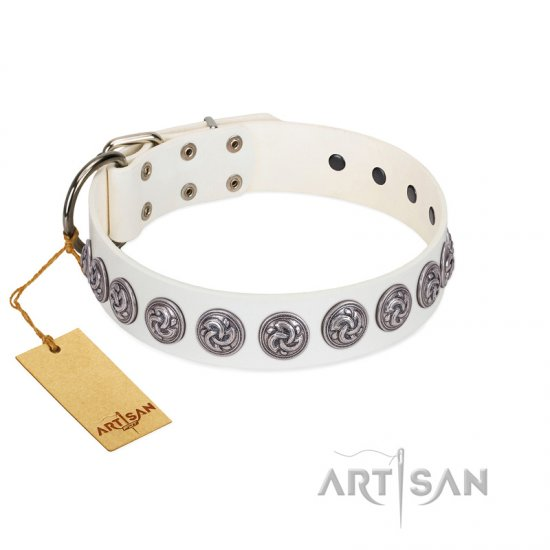 """Bohemian Spirit"" Handmade FDT Artisan White Leather Boxer Collar with Vintage Decorations"