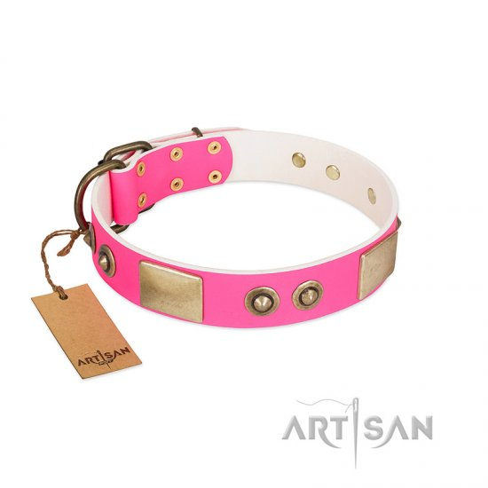 """Pink Splash"" FDT Artisan Soft Leather Boxer Collar with Bronze-like Plates and Medallions"