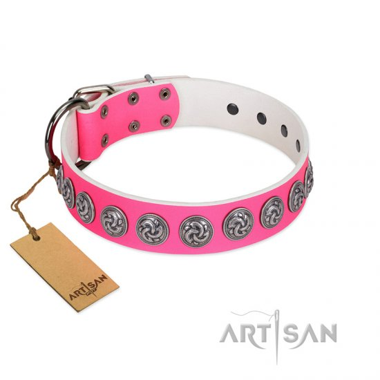 """Pink Garden"" Designer FDT Artisan Pink Leather Boxer Collar for Stylish Look"