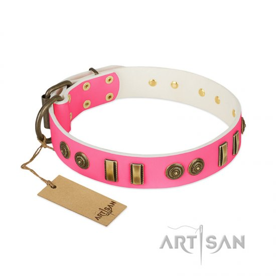 """Pink Amulet"" FDT Artisan Leather Boxer Collar with Old Bronze-like Plates and Circles"