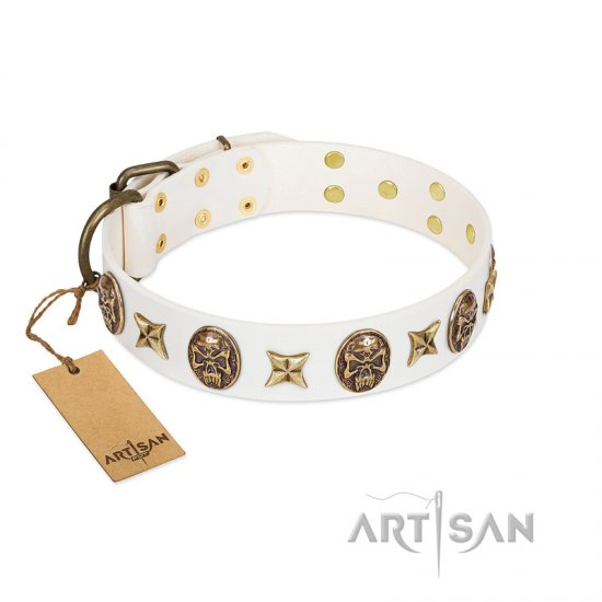 """Fads and Fancies"" FDT Artisan White Leather Boxer Collar with Stars and Skulls"
