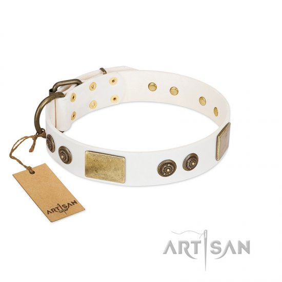 """Sweet Melody"" FDT Artisan White Leather Boxer Collar with Plates and Ornamented Studs"