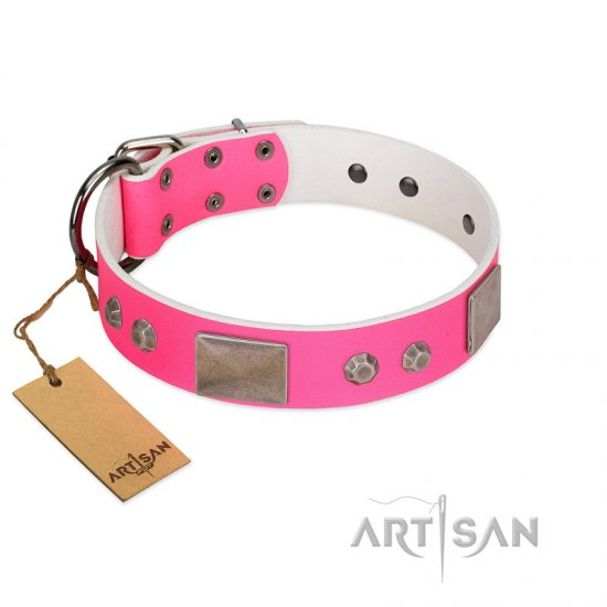 """Pink Blush"" Premium Quality FDT Artisan Pink Designer Boxer Collar with Plates and Studs"