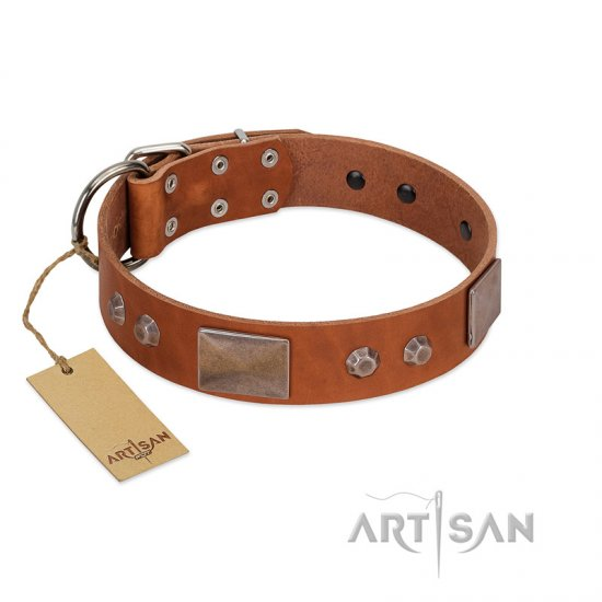"""Great Obelisk"" Handcrafted FDT Artisan Tan Leather Boxer Collar with Large Plates and Pyramids"