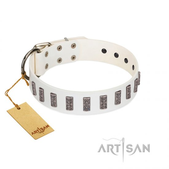 """Heaven's Gates"" Handmade FDT Artisan White Leather Boxer Collar with Silver-Like Engraved Plates"