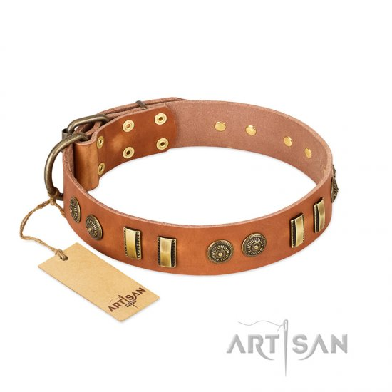 """Natural Beauty"" FDT Artisan Tan Leather Boxer Collar with Old Bronze-like Circles and Plates"