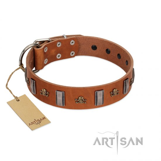 """Golden Crossbones"" Handmade FDT Artisan Tan Leather Boxer Collar with Plates and Skulls"