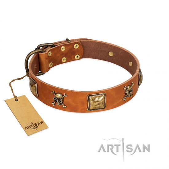"""Knights Templar"" FDT Artisan Tan Leather Boxer Collar with Skulls and Crossbones Combined with Squares"