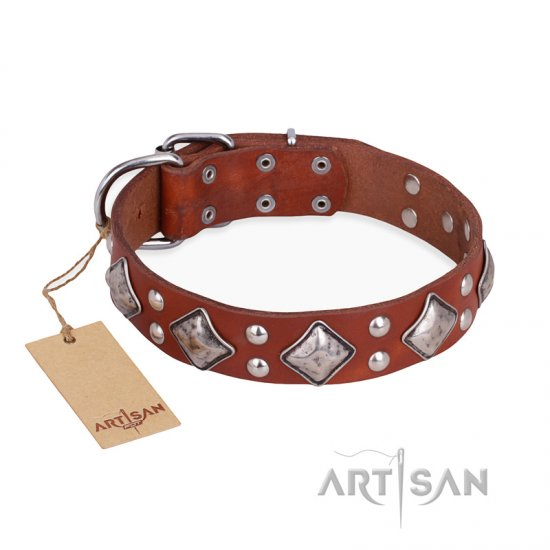 """Magic Squares"" FDT Artisan Tan Leather Boxer Collar with Silver-like Decor"