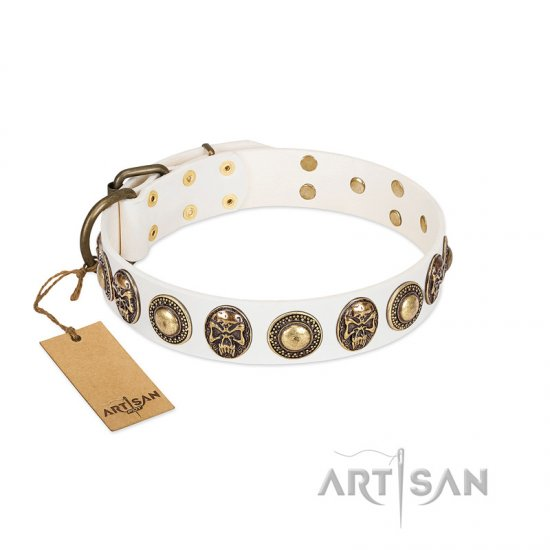 """White Delight"" FDT Artisan White Leather Boxer Collar with Exclusive Embelishments"