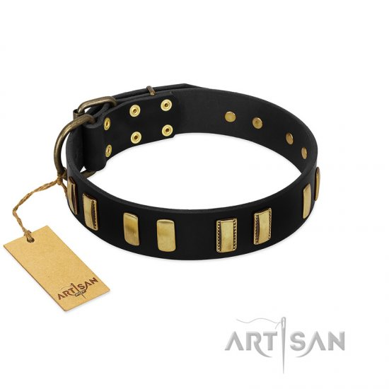 """Glorious Night"" FDT Artisan Decorated Black Leather Boxer Collar"