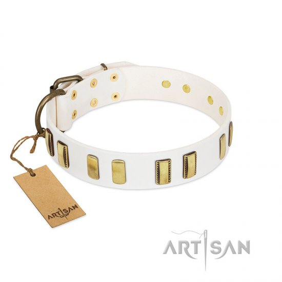 """Glorious Light"" FDT Artisan White Leather Boxer Collar with Old Bronze-like Plates"