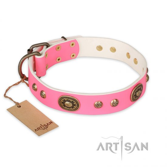"""Sensational Beauty"" FDT Artisan Pink Leather Boxer Collar with Old Bronze Look Plates and Studs"