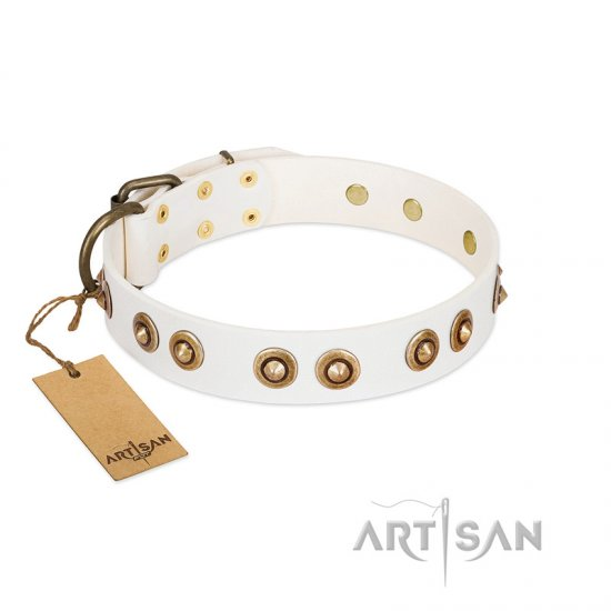 """Moonlit Stroll"" FDT Artisan White Leather Boxer Collar with Antique Decorations"