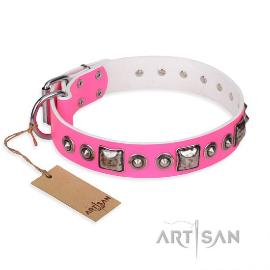 """Pink Dream"" FDT Artisan Leather Boxer Collar with Silvery Decorations"