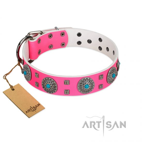 """Pink Delight"" FDT Artisan Pink Leather Boxer Collar for Everyday Walking"