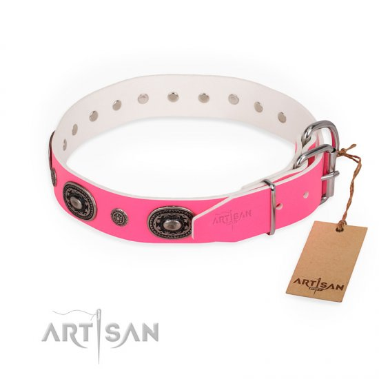 """Flavor of Strawberry"" FDT Artisan Flashy Pink Leather Boxer Collar"