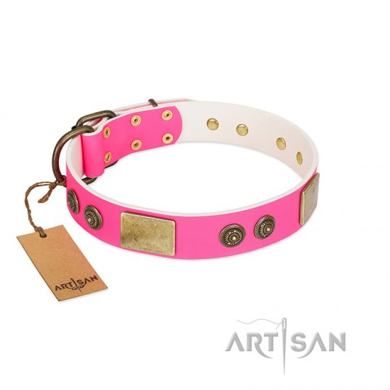 """Queen's Whim"" FDT Artisan Fancy Walking Pink Leather Boxer Collar Adorned with Old Bronze-like Plates and Studs"